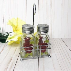 Vintage 1950's Apple Salt and Pepper Shakers Caddy